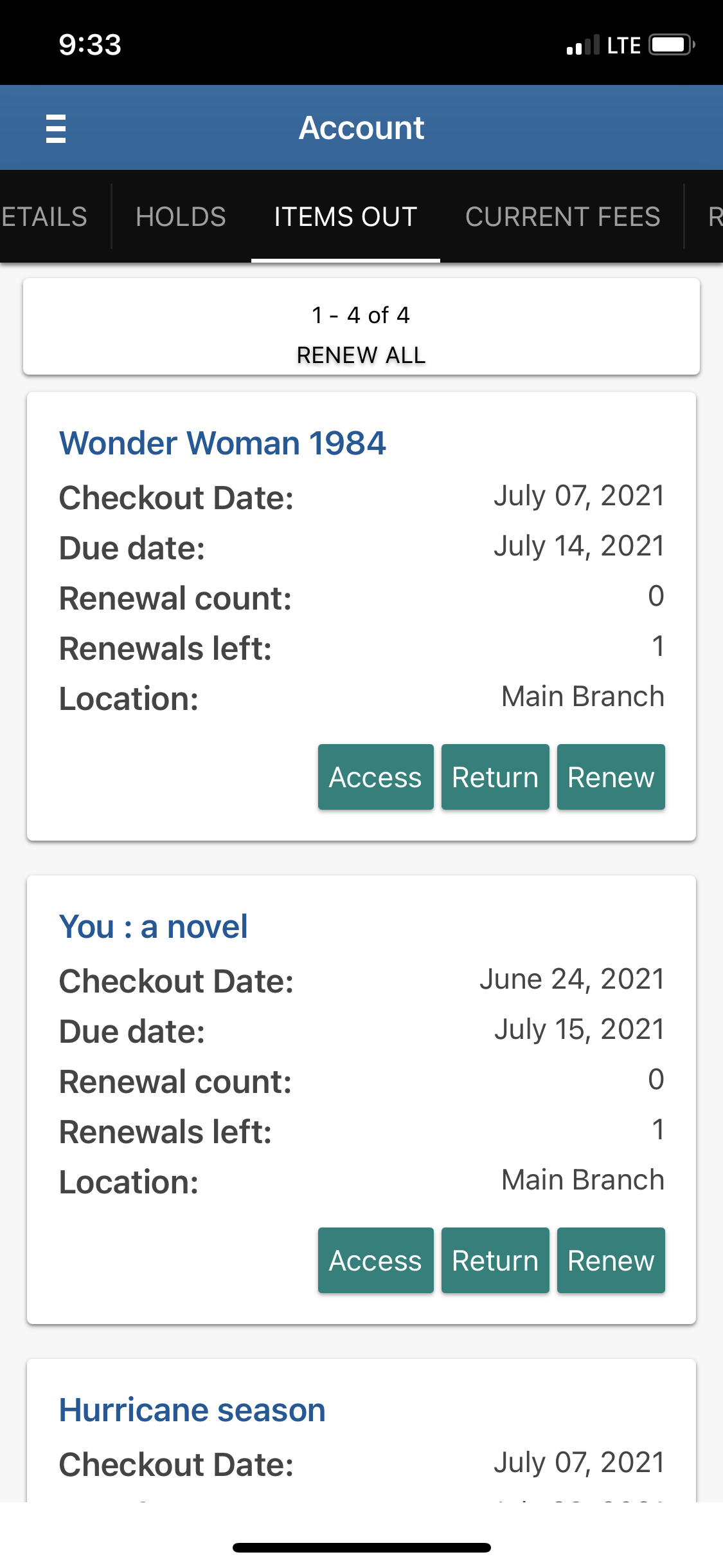 Screenshot of the Library app, showing how to renew items.