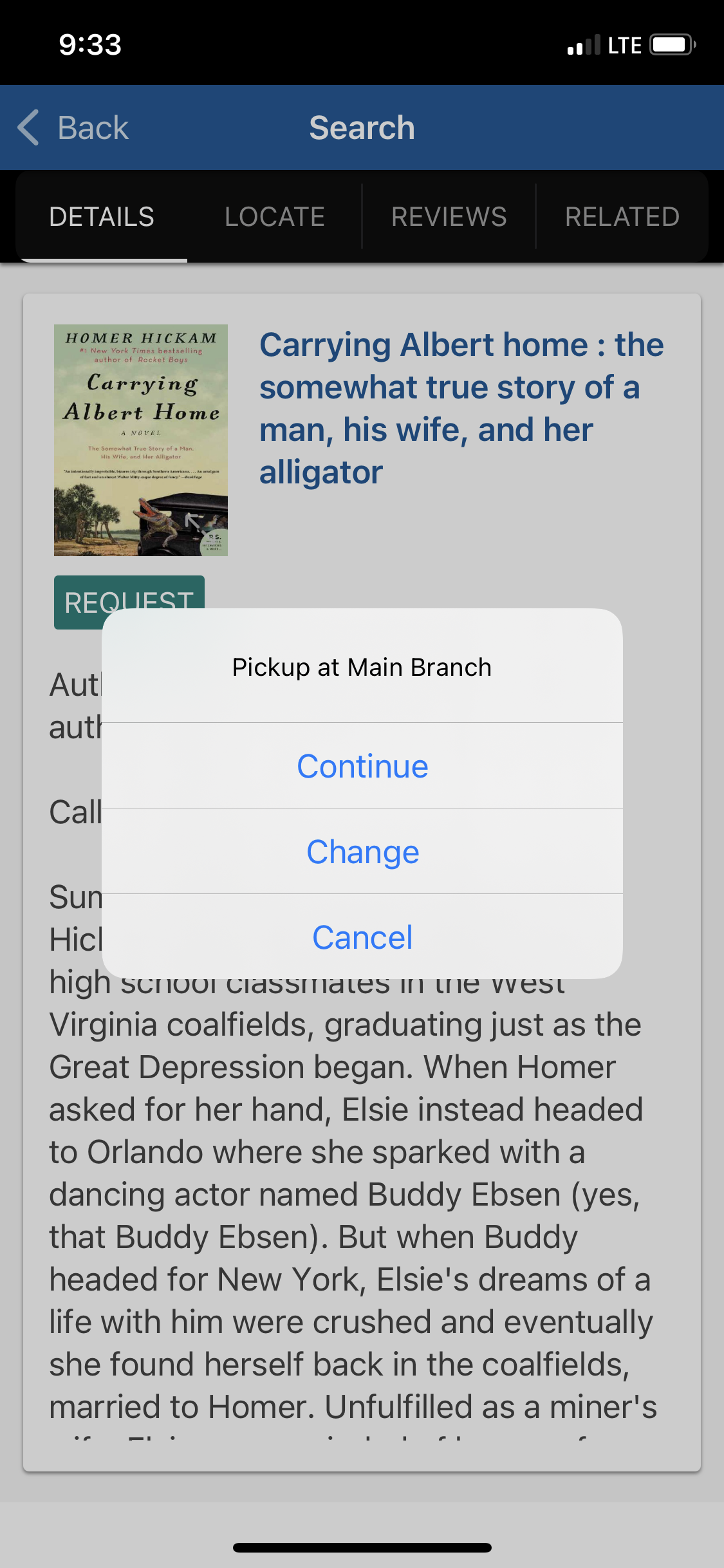 Screenshot of the Library app, showing how to request a book to be placed on hold.